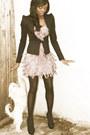 Fringed-asos-dress-black-black-neccesary-clothing-blazer-christian-louboutin