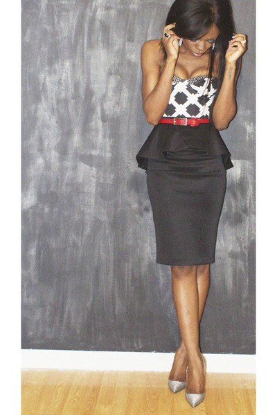 black peplum River Island skirt - print Motel Rocks bodysuit