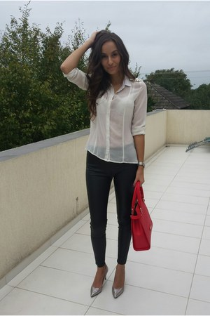 white Bershka shirt - ruby red Musette bag - silver Musette heels