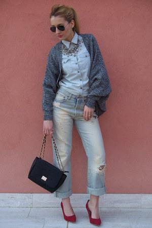 sammydress cardigan - REPLAY jeans - H&M shirt - Ray Ban sunglasses - Zara heels