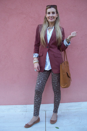 H&M blazer - united colors of benetton leggings - H&M bag - Tally Weijl flats