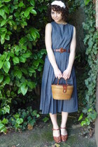 basket vintage purse - backless midi vintage dress - brown leather vintage belt