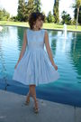 Vintage-dress-steve-madden-shoes-blue-flower-clip-accessories-floral-earri