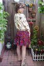 Purple-vintage-dress-gold-vintage-cardigan-beige-vintage-purse-gold-flats-