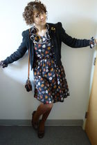 vintage dress - vintage cardigan - vintage - American Apparel stockings - thrift