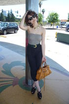 black Silk pants - American Apparel top - vintage belt - Jeweled shoes - gold el