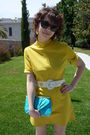 Yellow-vintage-dress-blue-asos-purse-white-vintage-belt-brown-bakers-shoes