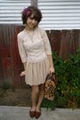 Vintage-cardigan-vintage-top-nude-skirt-vintage-bag-vintage-shoes-hand