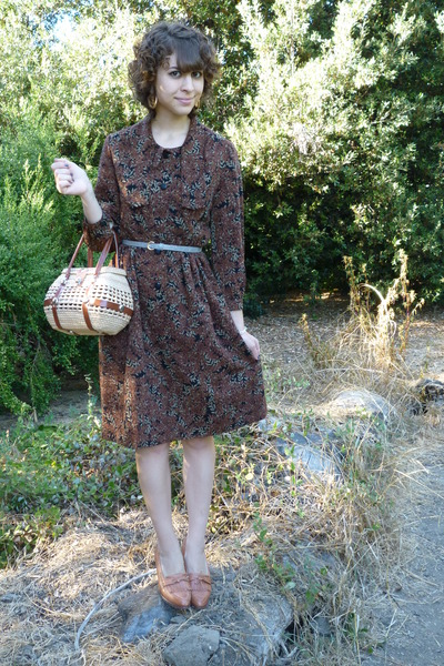 vintage dress - vintage - H&M belt - vintage shoes