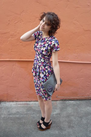 vintage dress - gray vintage bag - black Bakers shoes - H&M earrings