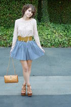 chambray American Apparel skirt - buckle wedges Cognac shoes