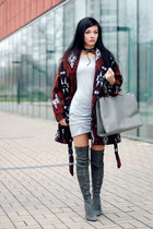charcoal gray over the knee Zara boots