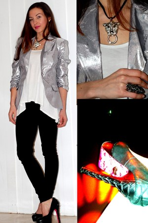 Bebe blazer - Cache necklace - Betsey Johnson heels