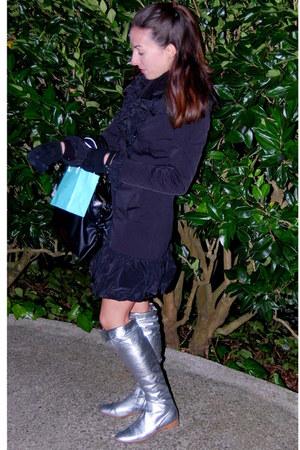 silver Sergio Rossi boots - black Bebe coat - light blue tiffany&co accessories