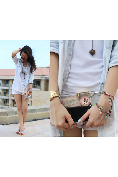white Pull & Bear shorts - mno logie bag - orange Charles & Keith sandals