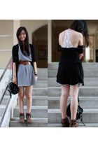 black H&M bag - dark brown Zara boots - white cotton on dress
