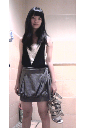 black elle vest - white Desire top - gray WTZ Collection skirt - silver Charles