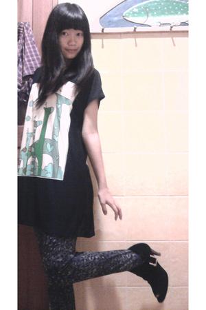 black dress - gray cotton on leggings - black Charles & Keith shoes