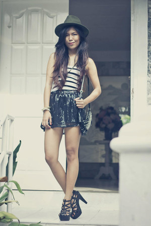 Forever 21 hat - figliarina bag - ZePubliq skirt - So FAB heels