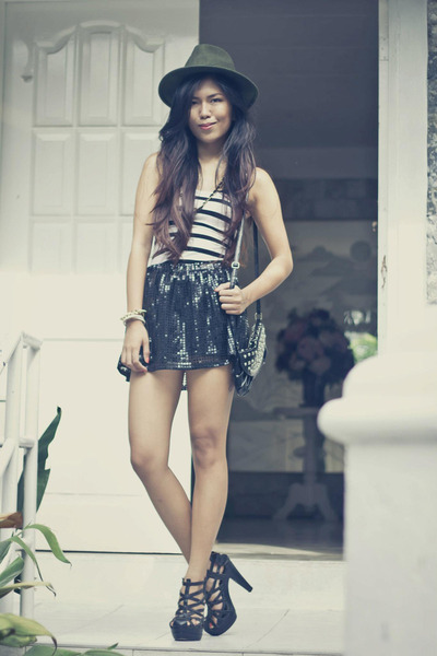 Forever 21 hat - figliarina bag - ZePubliq skirt - So FAB heels