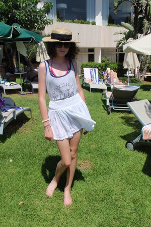 silver jack wills top - off white straw boater Primark hat