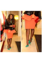 Aqua by Aqua skirt - Christian Louboutin shoes - Topshop jacket