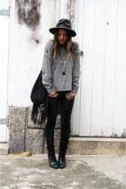 black Via Marte boots - charcoal gray She Inside coat - black Enjoei hat