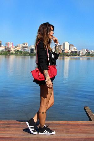 black Zara blazer - red Uncle K bag - sky blue Garimppo shorts - white ZNU top