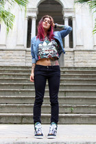 black Zara pants - blue jeans Puramania jacket - forest green Adidas top