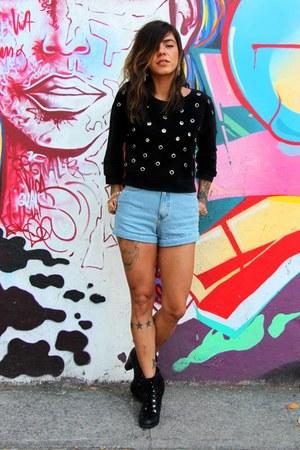 black c&a boots - black Zara coat - sky blue Garimppo shorts