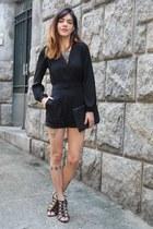 black Renner bag - black Choies jumper - black Debora Almeida sandals