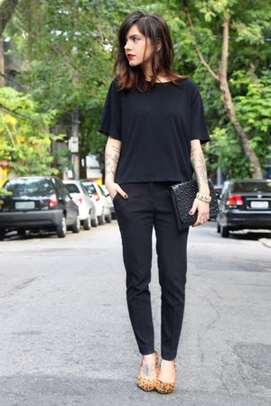 black c&a shirt - black Renner bag - black Zara pants