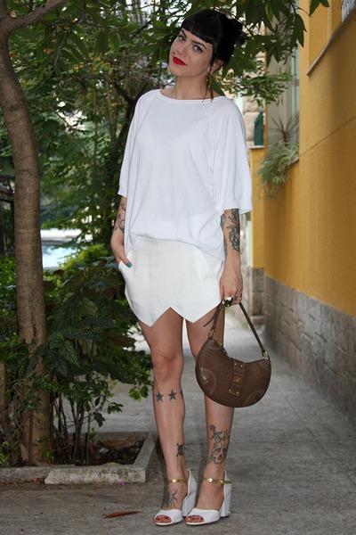white Zara shirt - brown Victor Hugo bag - white Zara shorts