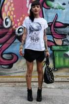 black Satinato boots - black c&a bag - black Zara shorts