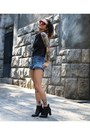 Black-satinato-boots-black-neoprene-zara-shirt-sky-blue-fyi-shorts