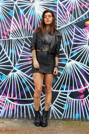 black Via Marte boots - black c&a jacket - charcoal gray c&a top