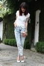 Sky-blue-forever-21-jeans-silver-miallegra-bag-black-zerouv-sunglasses
