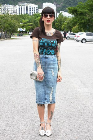 silver miallegra bag - dark brown reverbcity shirt - blue Zara skirt