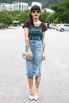 silver miallegra bag - dark brown reverbcity shirt - blue Zara skirt