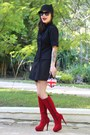 Red-lovelyshoes-boots-black-c-a-coat-black-zara-hat-blue-rocket-queen-bag