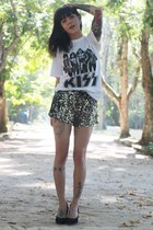white gws shirt - gray sequins romwe shorts
