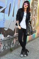 black spiked Lovelyshoes boots - black Zara jacket