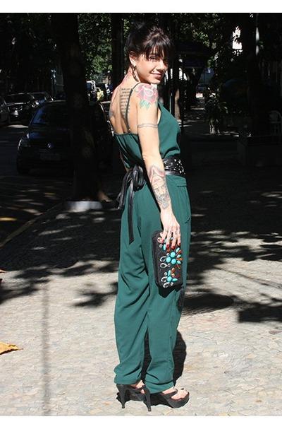 green Dress to jumper - black Zara belt
