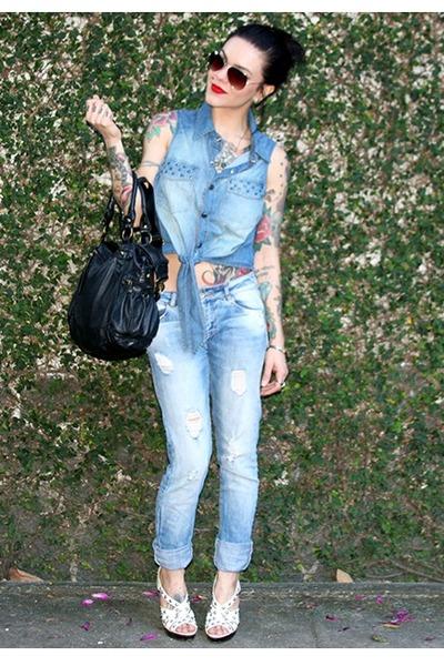 sky blue Zara jeans - sky blue Enjoy top - dark brown TNG glasses
