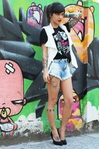 white romwe vest - sky blue fringed Renner shorts - black reverbcity t-shirt