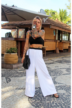 black fringe zimpy bag - white ASPARGUS pants - black crop top Forever 21 top