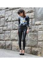 black Zara shirt - black c&a pants - Andarella heels