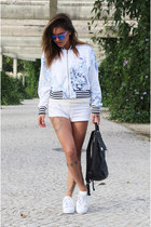 white floral print Adidas jacket - black Uncle K bag - white Zara shorts