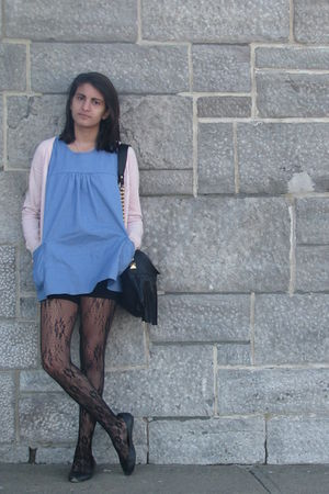 blue H&M dress - pink H&M cardigan - black Dont remember  shoes - gold Aldo purs