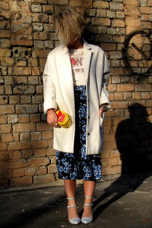 off white Topshop coat - yellow handmade purse - navy new look pants
